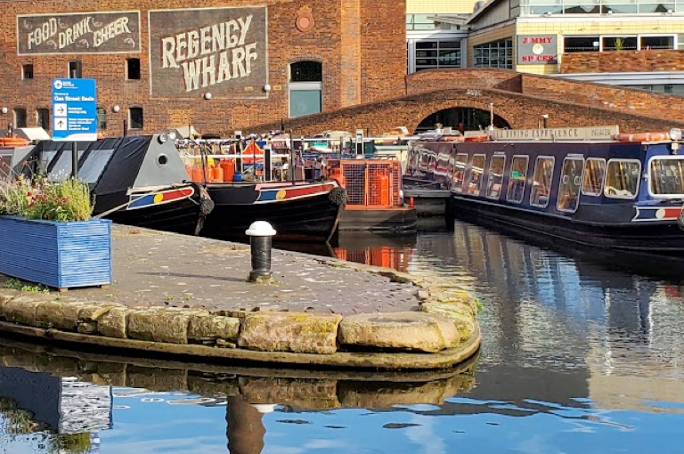 Colourful Barges on the Birmingham Canal Old Line